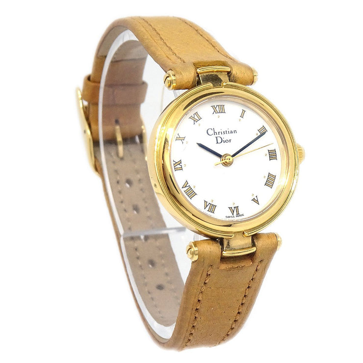 Christian Dior 3005 Watch Quartz Gold Brown