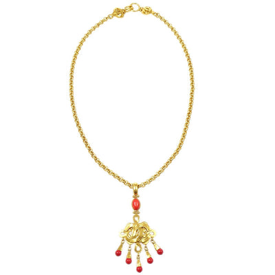 CHANEL 97P Fringe Stone Gold Chain Necklace
