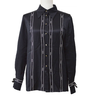 CHANEL 94A #38 Bow Tape Shirts Blouse Black