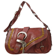 Christian Dior Gaucho Shoulder Bag Red