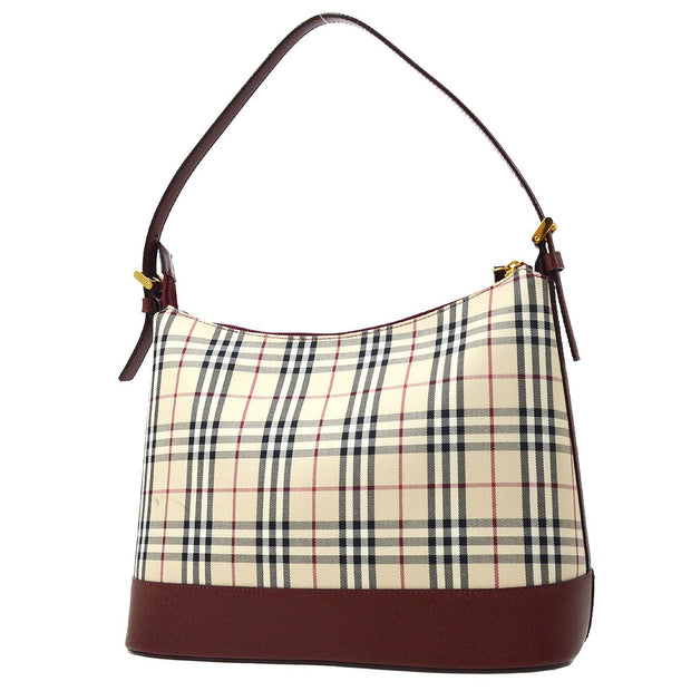 BURBERRY Hobo Classical Check Shoulder Bag Beige