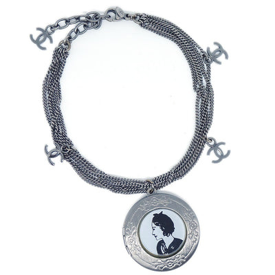 CHANEL Medallion Silver Chain Bracelet 03P