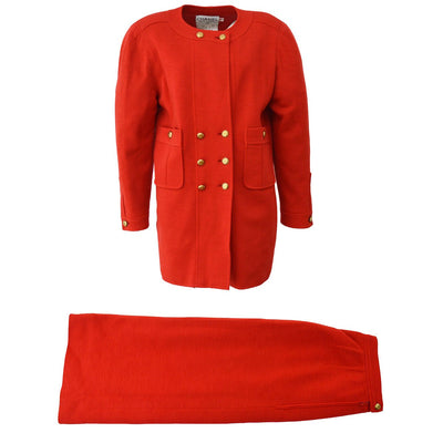 CHANEL #38 Set Up Suit Jacket Skirt Red