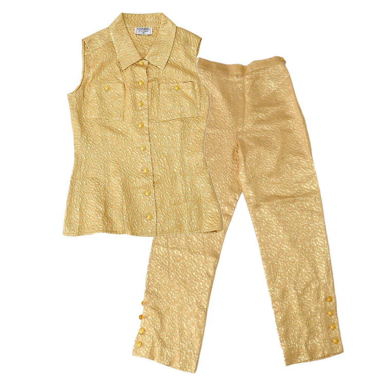 CHANEL Setup Suit Tops Pants Light Brown Gold