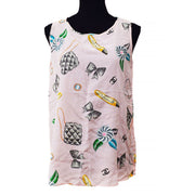 CHANEL 96P #40 Icon Sleeveless Tops Pink