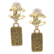 CHANEL 99A Shaking Plate Earrings Gold