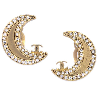 CHANEL Moon Rhinestone Earrings 01P Gold