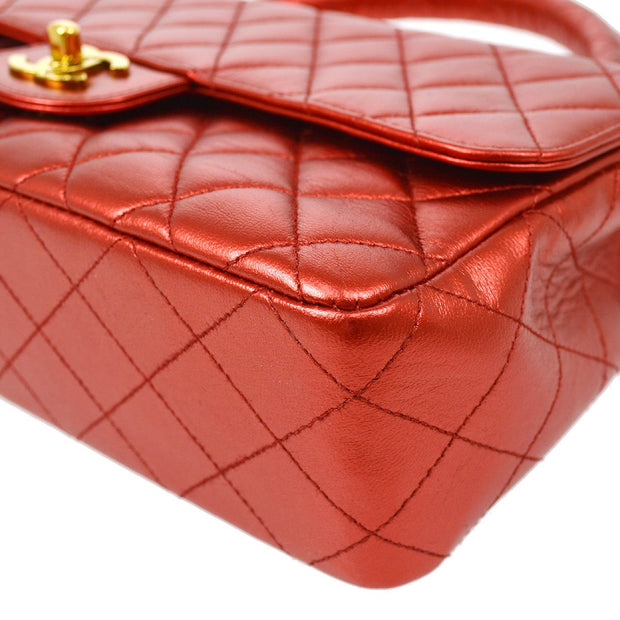 CHANEL 2 in 1 Hand Bag Set Metallic Red