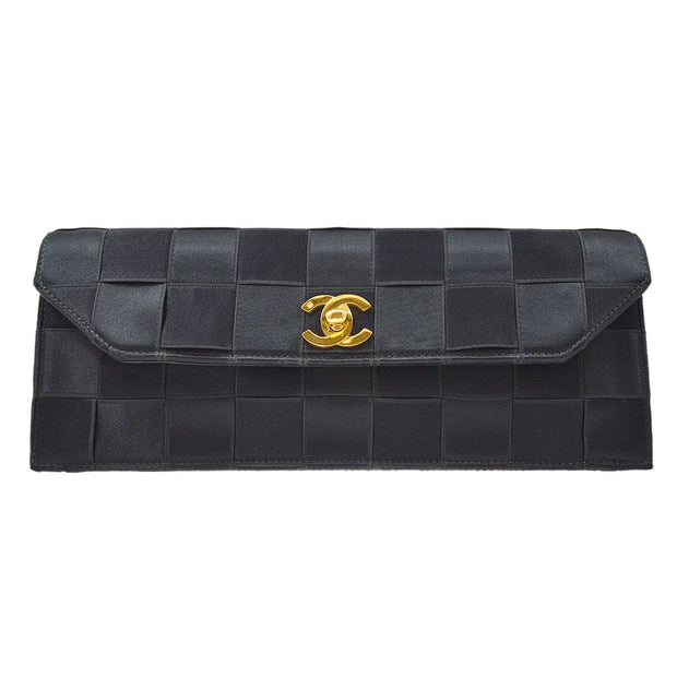 CHANEL Clutch Hand Bag Black Satin
