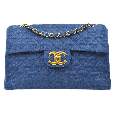 CHANEL Classic Flap Maxi Double Chain Shoulder Bag Indigo Denim