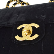 CHANEL Classic Flap Jumbo Mademoiselle Double Chain Shoulder Bag Black Velvet