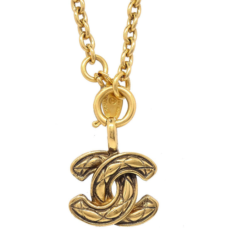 CHANEL Quilted Gold Chain Pendant Necklace 3858