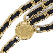 CHANEL Medallion Gold Black Chain Belt Leather