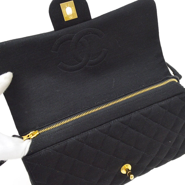 CHANEL Chain Backpack Bag Black Cotton