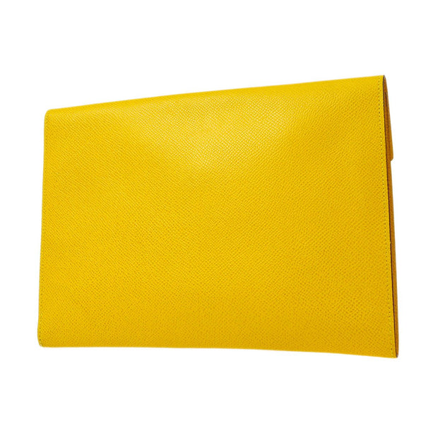 HERMES POCHETTE RIO Clutch Hand Bag Yellow Veau Greine Couchevel