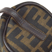 FENDI Zucca Pattern Hand Bag Pouch Brown