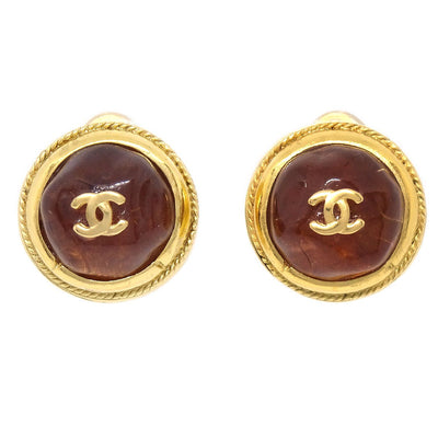 CHANEL Bijou Button Earrings Gold Brown 99A