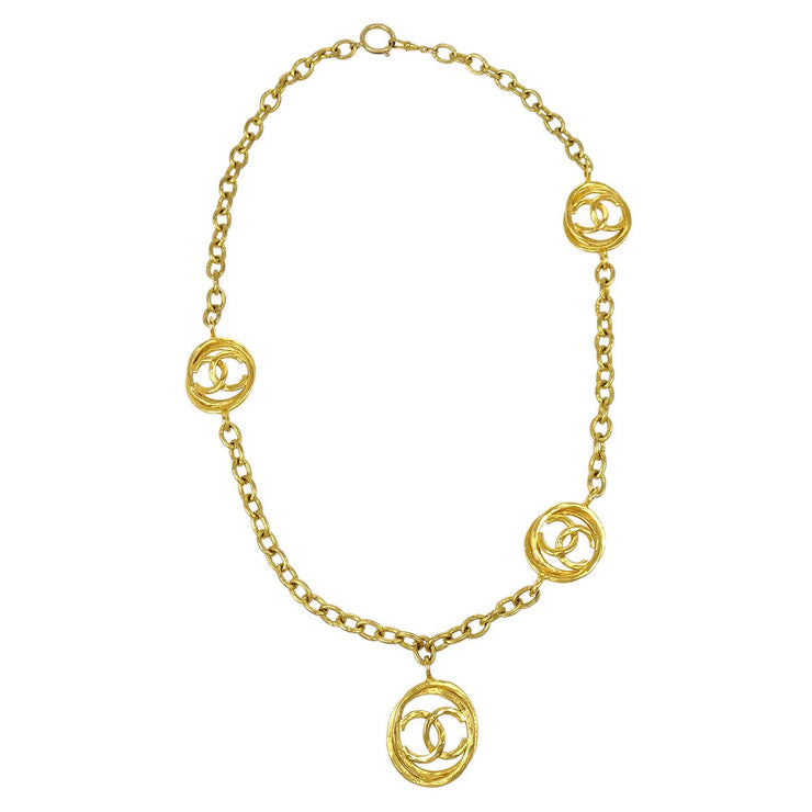 CHANEL Gold Chain Pendant Necklace 28