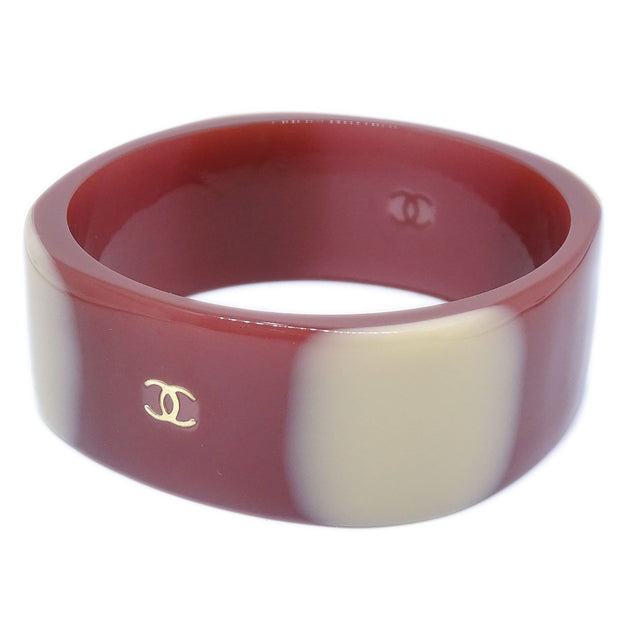 CHANEL Bangle Bracelet Plastic Brown 01A