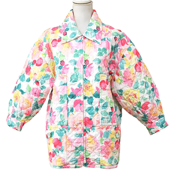 CHANEL Zip-up Flower Pattern Jacket White Pink