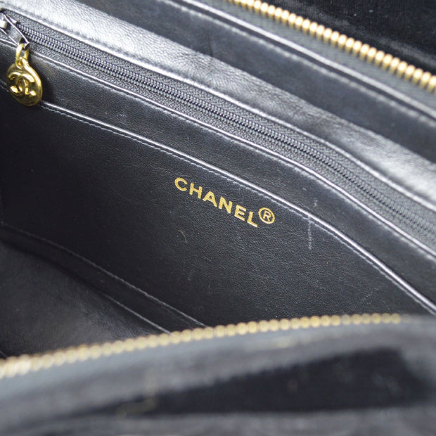 CHANEL Chain Backpack Bag Black Velvet
