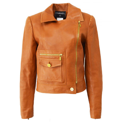 CHANEL 01P #40 Riders Jacket Brown
