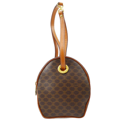 CELINE Macadam Pattern Pochette 2way Hand Bag Brown