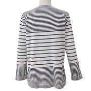 CHANEL Striped Long Sleeve Tops Black White