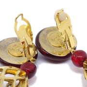 CHANEL Bijou Birdcage Earrings Gold Red