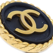 CHANEL Button Earrings Black 95A