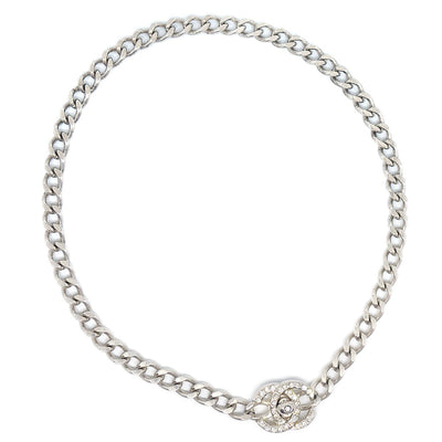 CHANEL 99C Turnlock Rhinestone Silver Chain Pendant Necklace