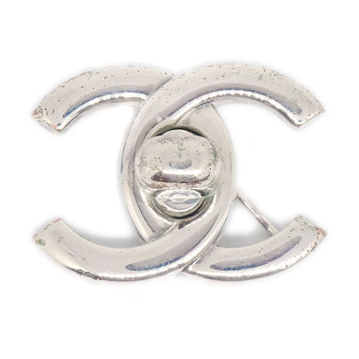 CHANEL Turnlock Brooch Pin Corsage Silver 96P