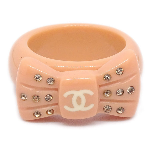 CHANEL 02P Rhinestone Bow Ring Size 6.5 Pink