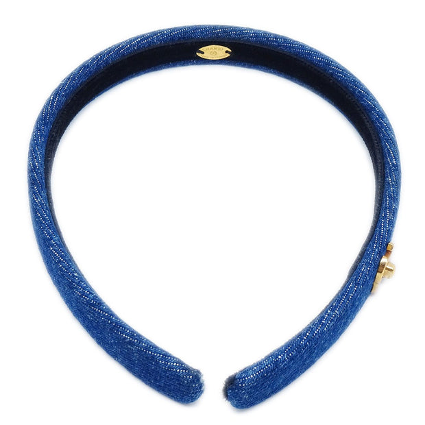 CHANEL Turnlock Denim Hair Headband Indigo
