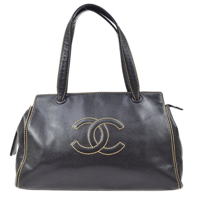 CHANEL Wild Stitch Shoulder Tote Bag Black Caviar Skin