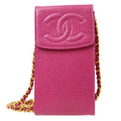 CHANEL Chain Shoulder Bag Pochette Case Pink Caviar Skin