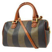 FENDI Pequin Pattern 2way Hand Bag Brown Black