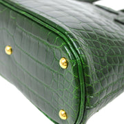 HERMES BOLIDE MINI MINI 2way Hand Bag Green Crocodile Alligator