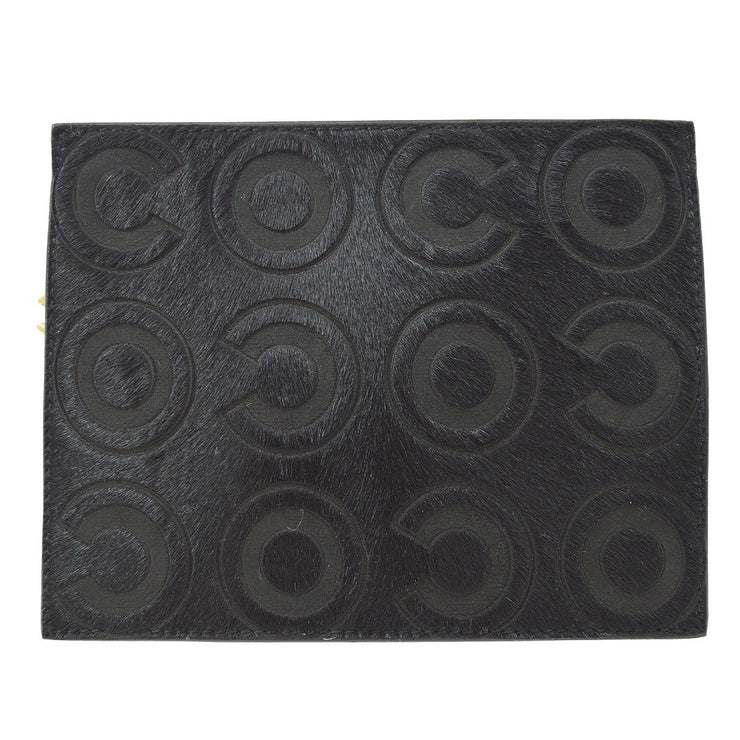CHANEL COCO Multi Pouch Wallet Pony Hair Black