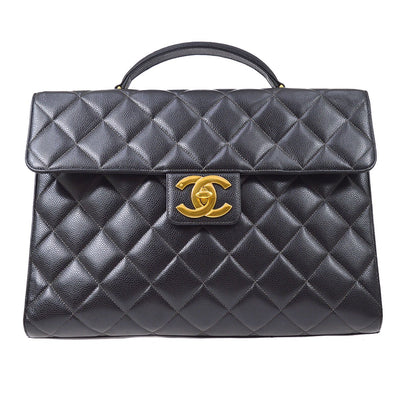 CHANEL Briefcase Business Hand Bag Black Caviar