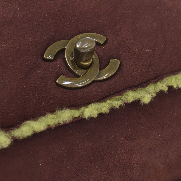 CHANEL Clutch Hand Bag Pouch Brown Mouton
