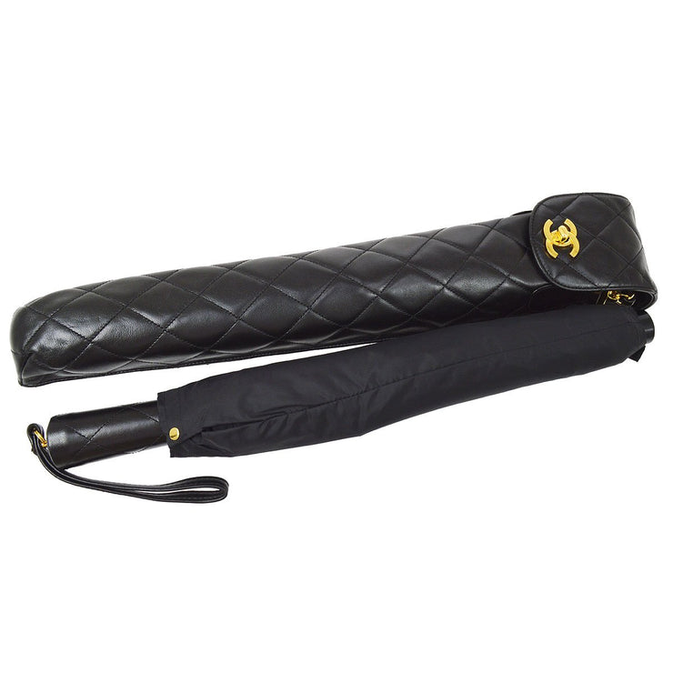 CHANEL Folding Umbrella Black