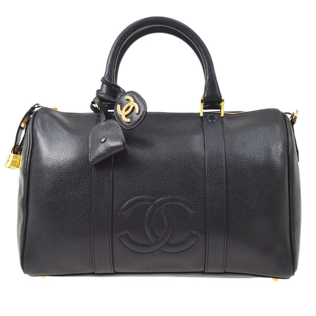 CHANEL 2way Travel Boston Hand Bag Black Caviar Skin