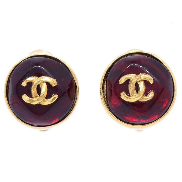 CHANEL Button Bijou Earrings Red 99P