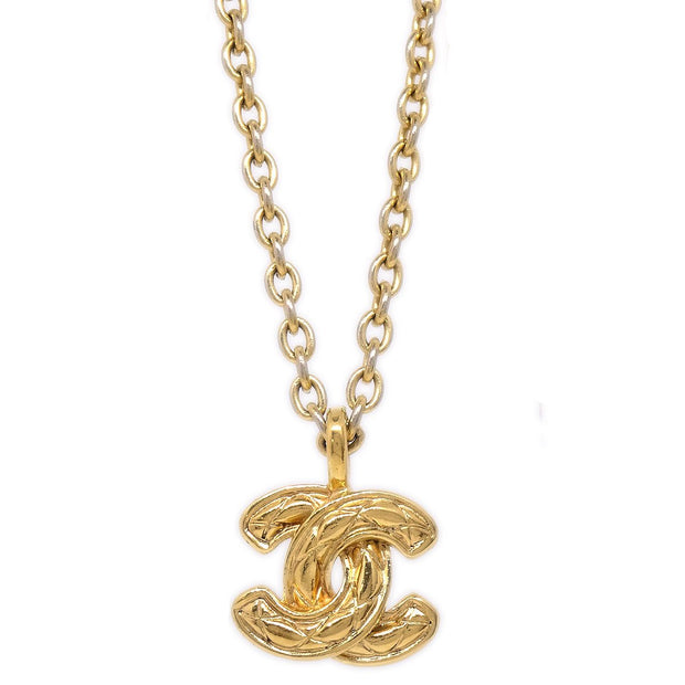 CHANEL CC Quilted Gold Chain Pendant Necklace 3858