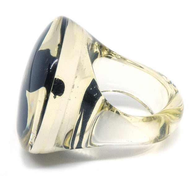 CHANEL Clover Ring Clear Black Size 7