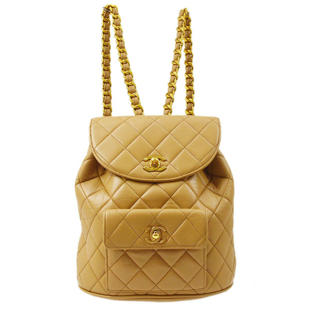 CHANEL Duma Chain Backpack Bag Beige