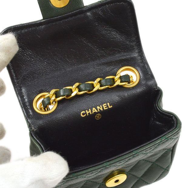 CHANEL Classic Flap Micro Chain Mini Waist Bum Bag Pouch Green