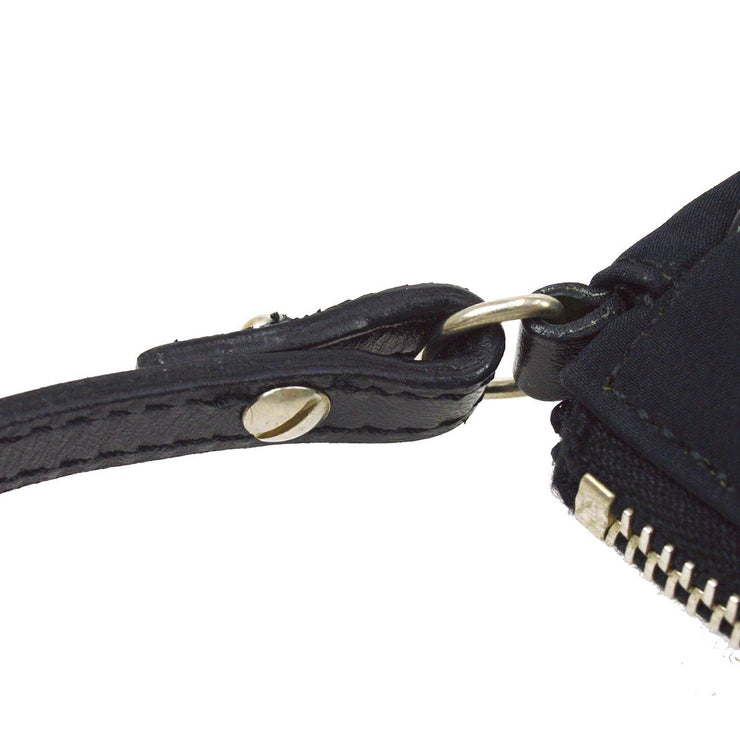 Christian Dior Saddle beads Spangle Hand Bag Black Satin