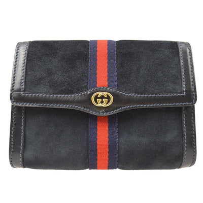 GUCCI Accessory Collection Clutch Hand Bag Pouch Navy Suede